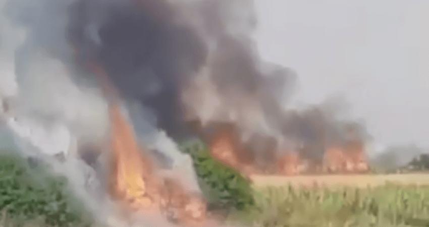 Zjarr i madh në fshatin Sllatinë
