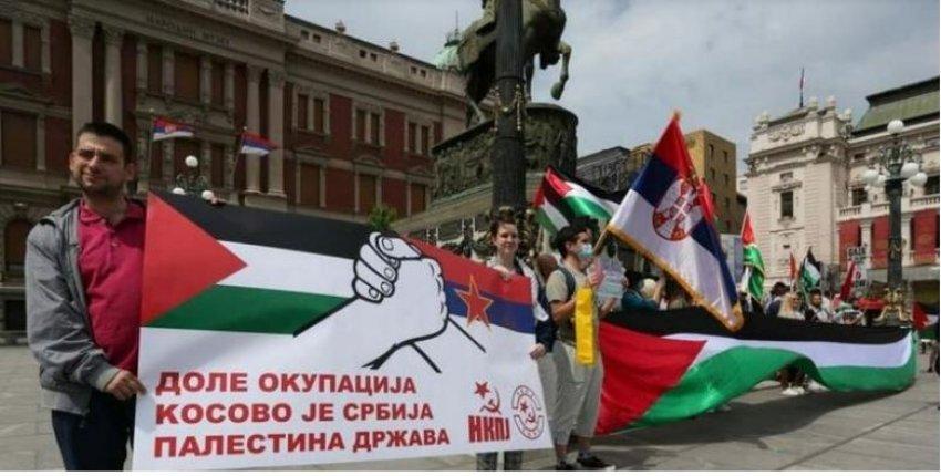 Në Beograd protesta pro Palestinës: Kosova është Serbi, Palestina shtet